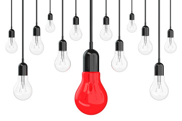 Ideas Concept. Many Light Bulbs with One Red in Centre. 3d Rende