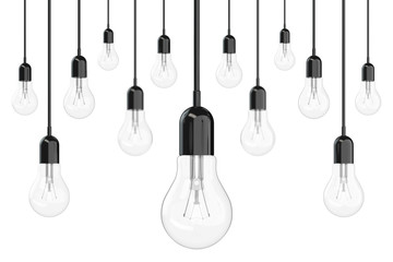 Ideas Concept. Many Light Bulbs. 3d Rendering