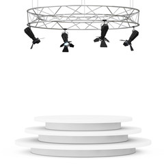 Metal Modern Stage Spotlight Construction with Podium. 3d Render