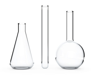 Laboratory Glassware.  Chemical Flasks. 3d Rendering