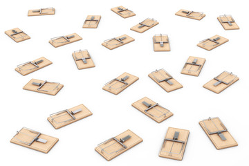 Many Wooden Mousetraps. 3d Rendering