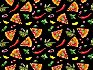 Pizza pattern with watercolor hand drawn pizza on black, chilli pepper, olives and lemon. Ornament for textile, wrapping, cafe, delivery, menu, snack bar design