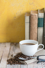 Coffee cup on a table background