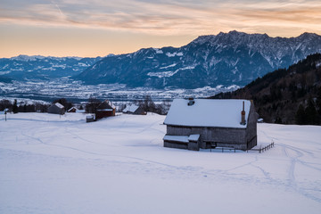 Swiss Winter - Huts in the snow