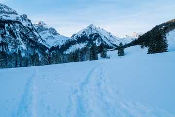 Swiss Winter - Mountain covered in snow