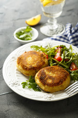Potato cakes with fresh salad
