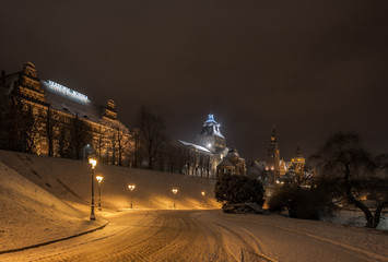 City at winter night