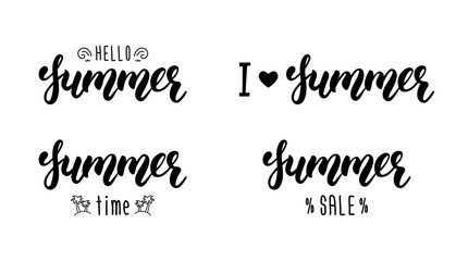 Summer hand lettering set. Summer typographic and calligraphic set. Summer logos and emblems. Vector