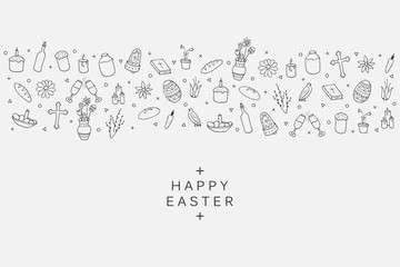 Easter element icons - banner background in doodle style.