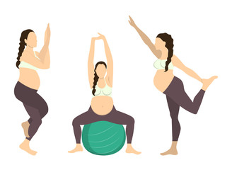 Workout for pregnant set. Yoga training. Healthcare for young mothers. Stretching for health. Exercise with fit ball. One leg standing.