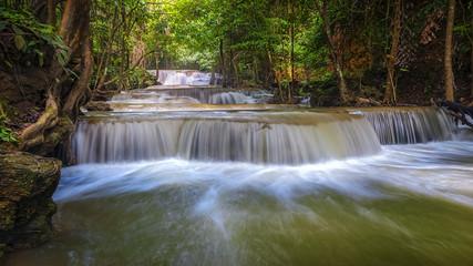 Landscape Huai Mae Kamin waterfall Srinakarin Dam in Kanchanaburi, Thailand