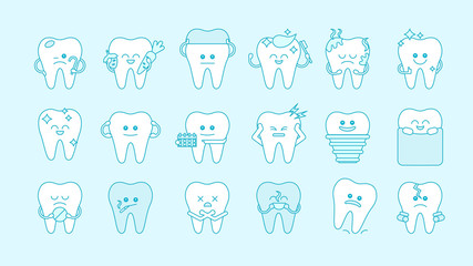 Funny teeth set on white background. Concept of dental care. Different cartoon teeth with emotions. Blue and white design.