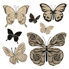 silhouettes decorative butterflies