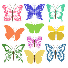 silhouettes multicolored butterflies