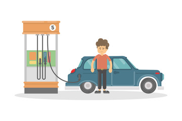 Isolated gas station o white background. Man refilling car with petrol. Funny smiling cartoon character.