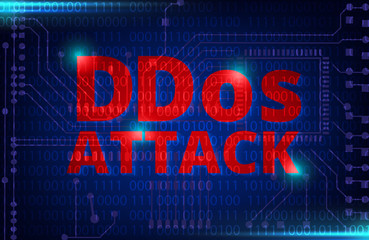 DDOS on a Digital Binary Warning above electronic circuit board