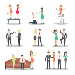 Office party set. Isolated staff in celebrating hats on white background. Office with decoration.