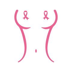 Pink body woman breast cancer signal image design icon