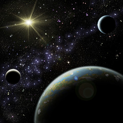 Alien planet with two satellites in the deep space.