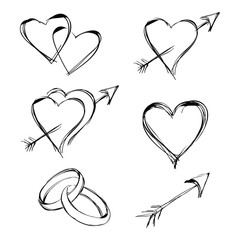 graphic design editable for your design, hand drawn heart set, heart with arrow, rings in black outline isolated on white background. Vector Illustration.
