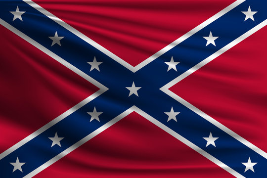 The national flag of Confederate. The symbol of the state on wavy silk fabric. Realistic vector illustration.