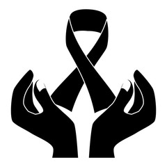 black ribbon breast cancer signal in the hands , vector illustration