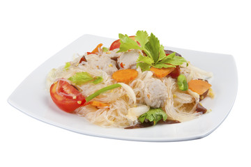 Spicy vermicelli salad with Pork, Thai style.