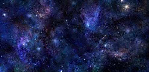 Deep Space wide banner background - Wide panel of outer space with many different stars, planets and cloud formations
