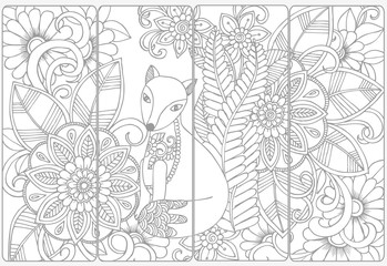 Cute fox and floral doodles for coloring.Vector set of monochrom