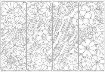 Floral doodles for coloring.Vector set of monochrome bookmarks .