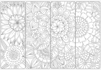 Doodle flowers for coloring.Vector set of monochrome bookmarks .