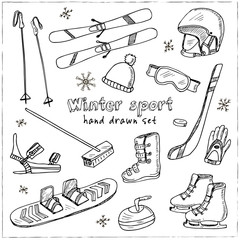 Winter Fun Sports, Activities and Accessories Hand-Drawn Notebook Doodles Set with Sled, Skis, Skates, Snowboard, Snowflake
