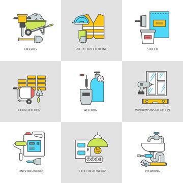 The flat line of conceptual icons, objects and tools. Construction, engineering and repair. Modern flat linear concept icons, symbols set for websites and applications, vector