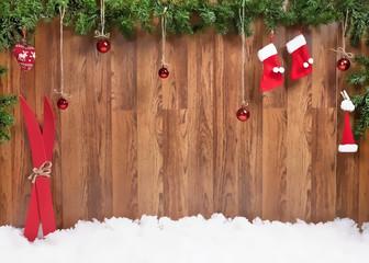 Christmas composition with Christmas balls and skiing