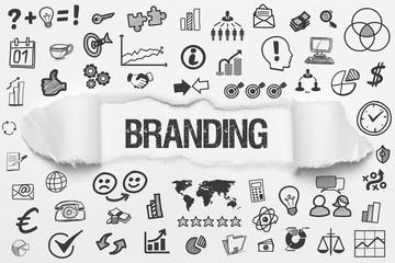 Branding / weißes Papier mit Symbole