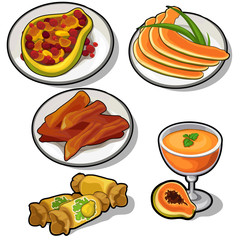 Papaya and pear on the plates in different types