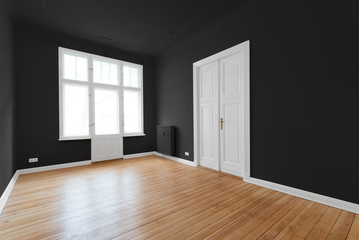 new flat in old building - black painted room