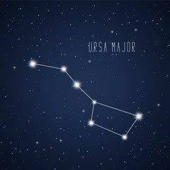 Vector illustration of Ursa Major constellation on the background of starry sky
