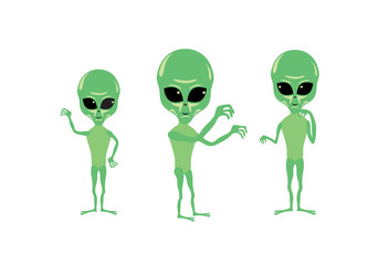 Alien cartoon character. Alien vector. Group of aliens