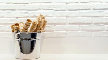 Empty ice cream cones in the basket