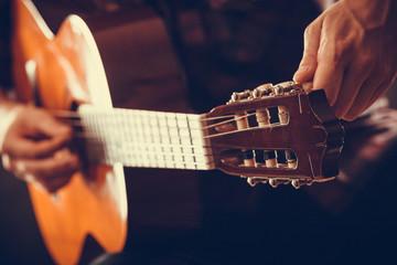 Closeup on musical instrument.
