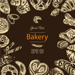 Vector illustration sketch - bakery. croissant, buns, puffs. French bakery with fresh pastries