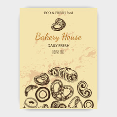 Vector illustration sketch. bread, croissant, buns, puffs. Pattern bakery house with fresh pastry.