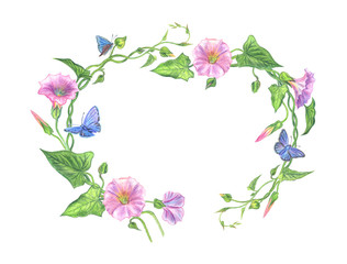 Frame of pink bindweed with blue butterflies, watercolor illustration.