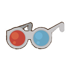 cartoon glasses 3d cinema accessory vector illustration eps 10