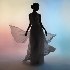 Printed roller blinds womenART Silhouette elegant woman in blowing dress
