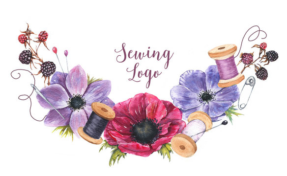 Hand-drawn watercolor sewing logo template with flowers, berry and sewing tools