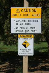 Danger sign for cliffs