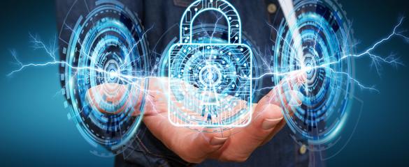Businessman using digital padlock to secure his datas 3D renderi