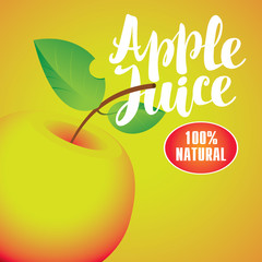 Vector banner with apple and inscription apple juice